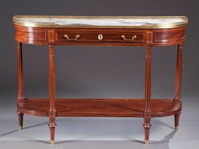 15: Louis XVI Style Mahogany Console Table with Marble