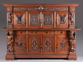 17: Late 19th Century Heavily Carved Walnut Sideboard