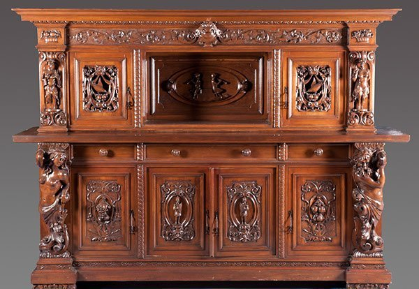 18: Late 19th Century Heavily Carved Walnut Sideboard