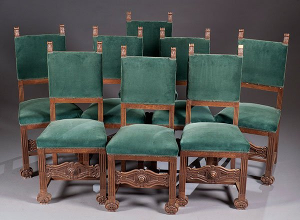 21: Set of Eight Late 19th Century Carved Walnut Chairs