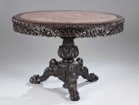 23: Carved Chinese Teakwood Table with Marble Top