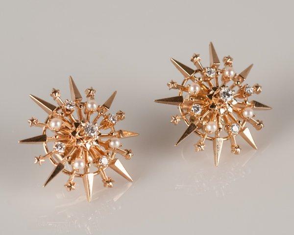 2: Pair of 14K Rose Gold Starburst Diamond and Pearl Ea