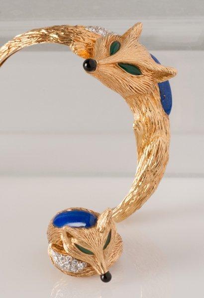 3: 18K Gold Fox Ring and Bangle Bracelet,