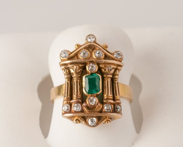 4: 18K Yellow Gold Emerald and Diamond Ring