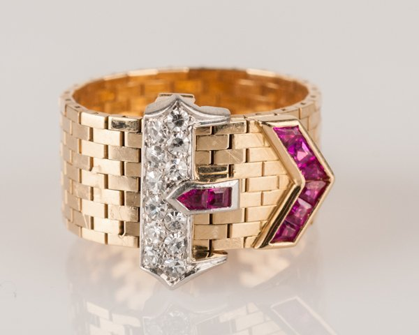 8: Classic 1940's 14K Yellow Gold, Ruby and Diamond Buc