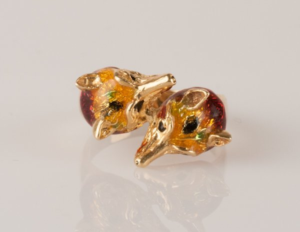 11: 18K Yellow Gold & Enamel Double Fox-head Ring, 6.3