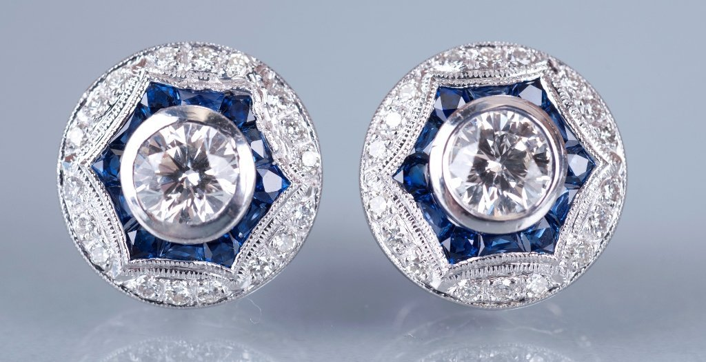17: Pair of Platinum, Diamond and Sapphire Deco Style E