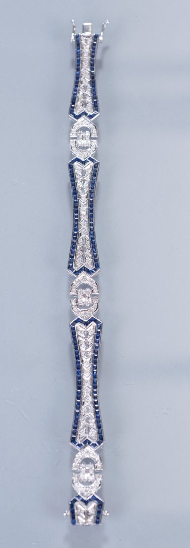 18: 18K White Gold, Diamond and Sapphire Deco Style Bra