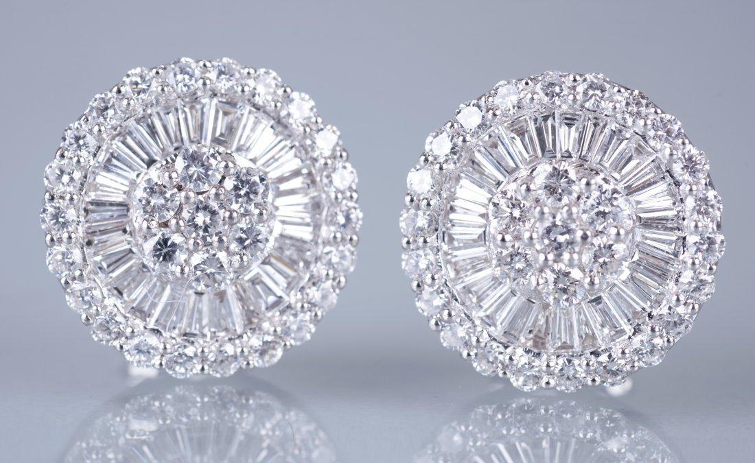19: Pair of Platinum and Diamond Earrings
