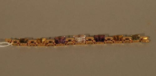 20: 14K Rose and Yellow Gold Gemstone Bracelet