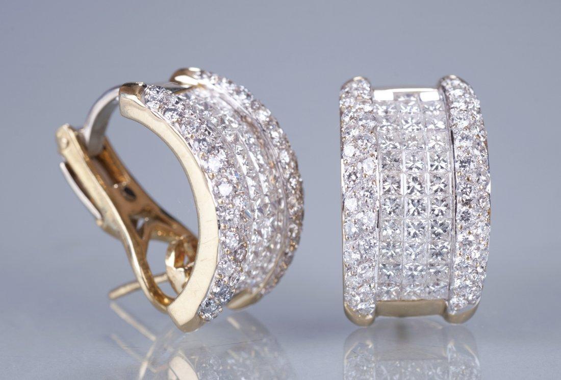 "24: Pair of 18K Yellow Gold Diamond ""Levian"" Earrings"