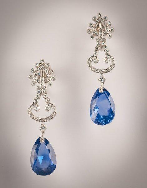 28: A Pair Platinum & Sapphire Cartier Earrings