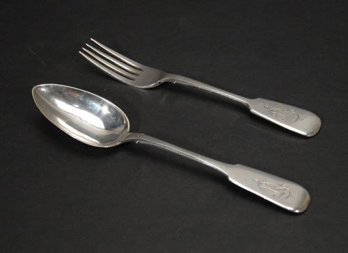 3: Russian Silver Serving Fork and Spoon  Ca. 1862 and