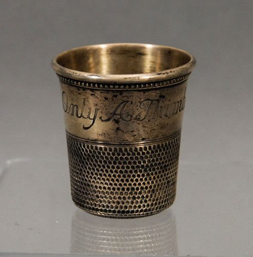 7: Thimble Form Silver Shot Glass 'Only A Thimble Full'