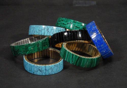 18: Lapis Malachite and Turquoise Flexible Bracelets Se