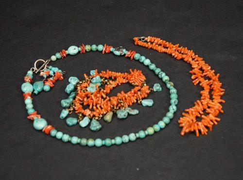 """19: Two Turquoise and Coral Necklace & One Bracelet 19"""""""
