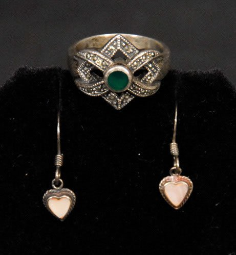 22: Sterling Ring with Green Stone and Sterling Heart E