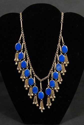 """23: Silver and Lapis Necklace Unmarked 24"""" L"""