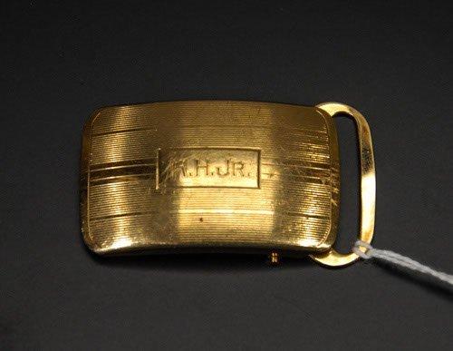 49: 14 Kt. Gold Belt Buckle Marked 14 Kt. to back. 11.0