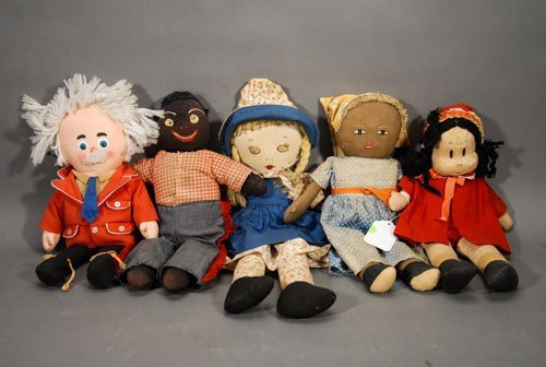 374: 5 Vintage Stuffed Dolls Captain Kangaroo 2 cartoon