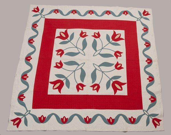 Hannibal, Missouri Appliqued Quilt, Late 1800's,