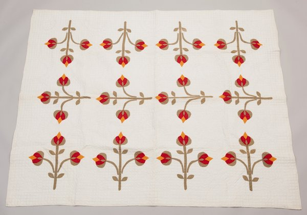 Pine Hurst, North Carolina Appliqued Quilt, Ca. 1860's,