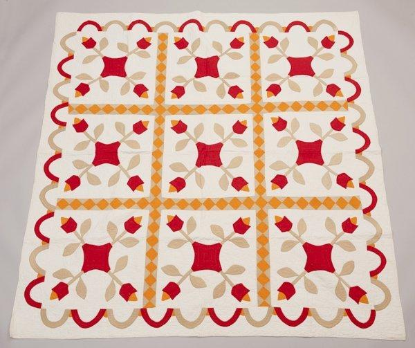 St. Louis, Missouri Appliqued Quilt, Late 1800's,