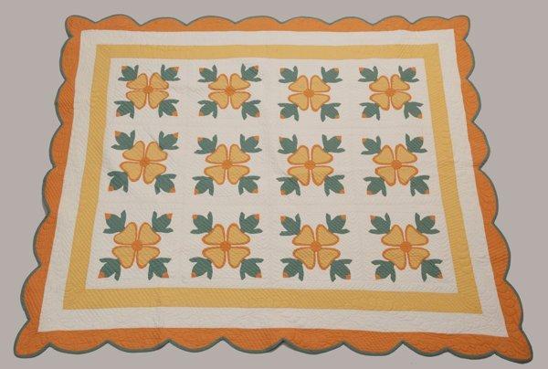 Western Pennsylvania Appliqued Quilt, Ca. 1910 - 1920,