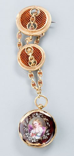 18K Yellow Gold and Enameled Diamond Pendant Watch by M