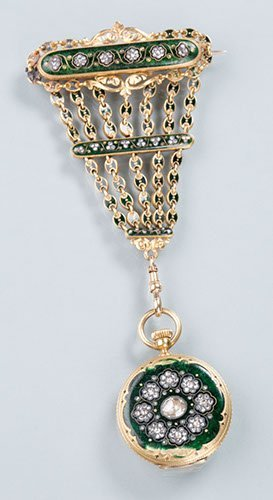 Tiffany and Co. 18K Yellow Gold Diamond and Enamel Pend