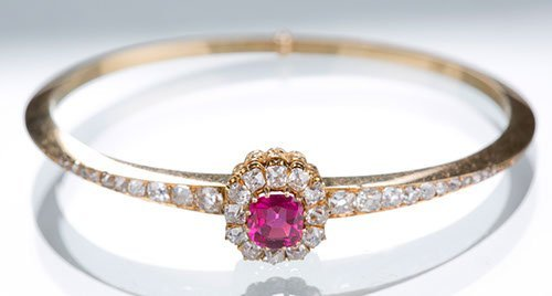 18K Yellow Gold, Ruby and Diamond Bangle Bracelet