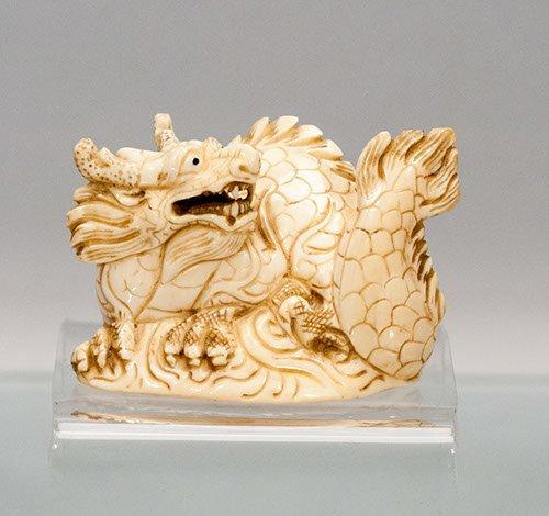 Carved Ivory Dragon Netsuke hairline crack to bottom