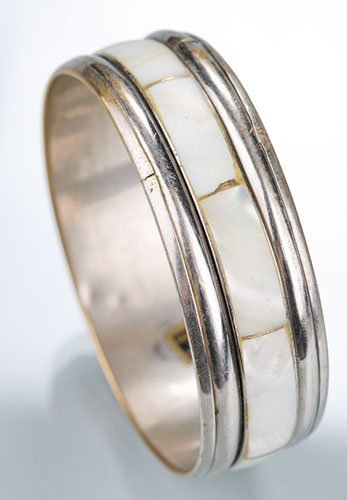 Bangle Bracelet, Mother of Pearl panels on silver tone