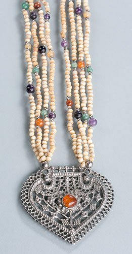 Multi-strand Carved Ivory Bead Pendant Necklace