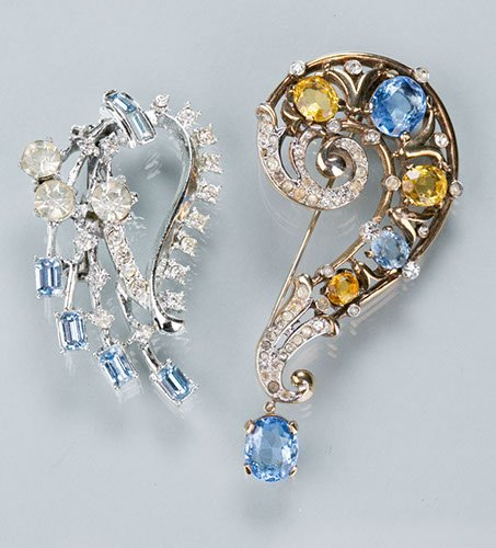 Two Pins, One Gold Tone with Blue, Yellow and Clear Sto