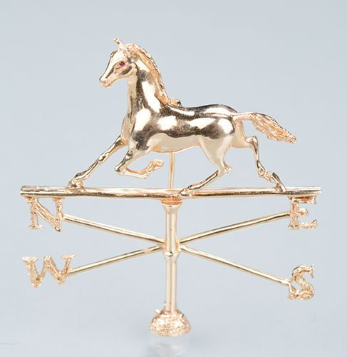 14K Yellow Gold Horse and Weathervane Brooch, 20.0 gram