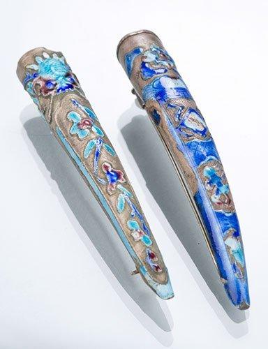 Two Cloisonne Fingernail Guard Pins