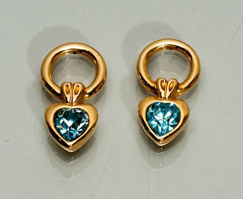 Pair of Gold Plated Earrings with Blue Stones