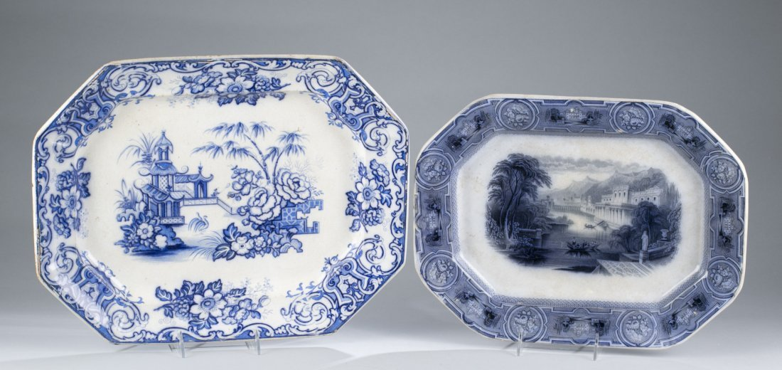 Wedgewood Pearlware Platter and Ironstone Blue and Whit
