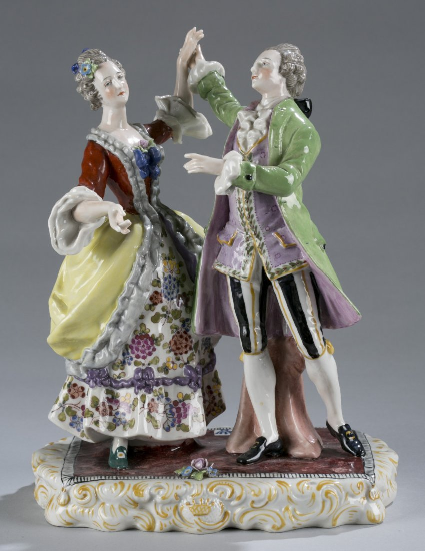 """Two Hand painted Porcelain Figures Dancing Marked """"Germ"""