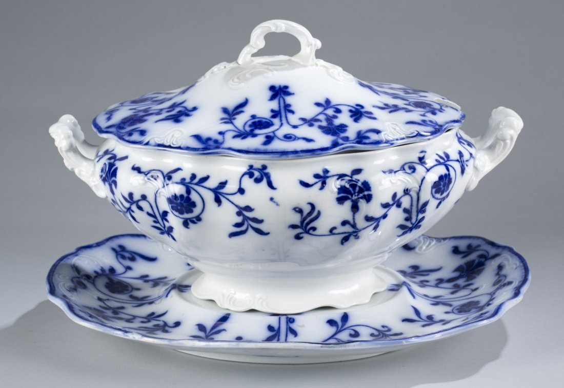 Blue and White Tureen and Underplate