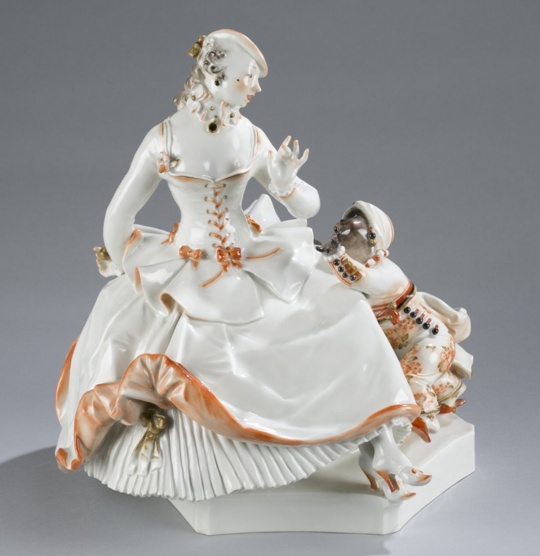 Meissen Figurine of a Woman with a Small Servant