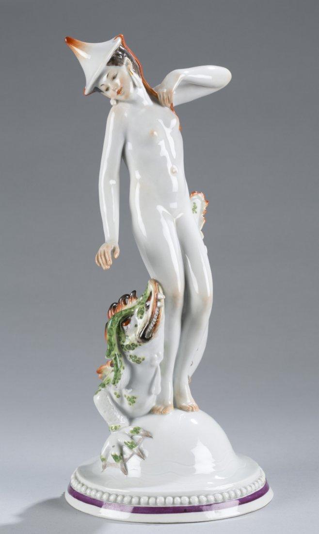Meissen Figure with Dragon, Ca 1925