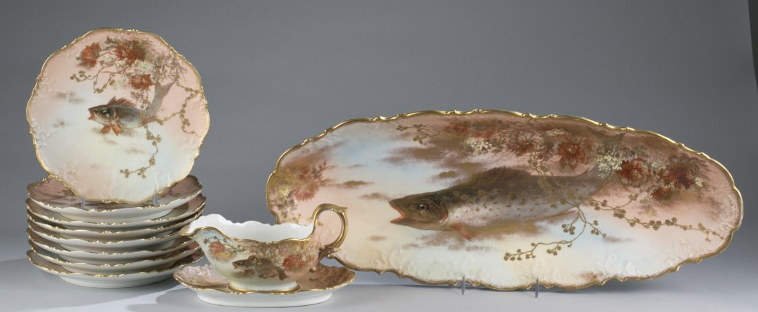 Limoges Fish Set, Eleven (11) Pieces
