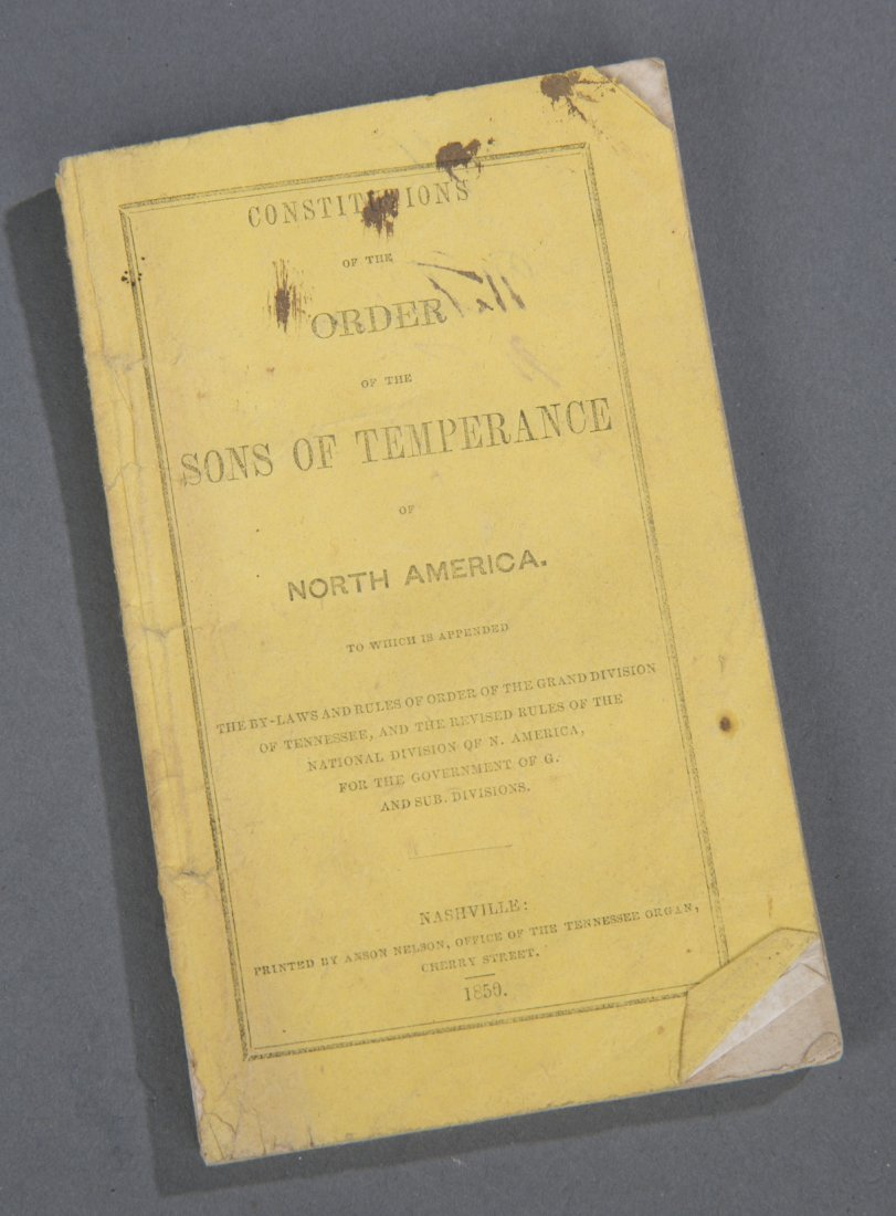 Pre-Civil War 1859 Sons of Temperance Constitution Book