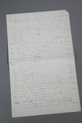 Civil War 1863 Alabama Slave Appraisal