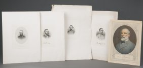 Five(5) Prints of Civil War Confederate Officers, inclu