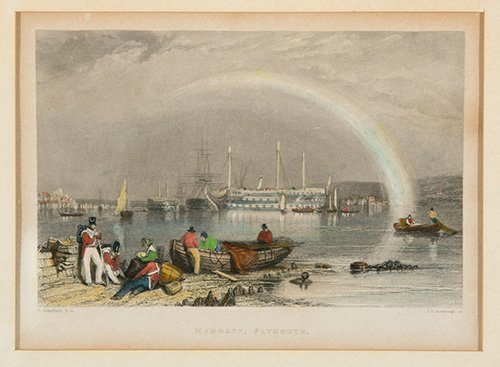 Colored Etching of Hamoaze, Plymouth
