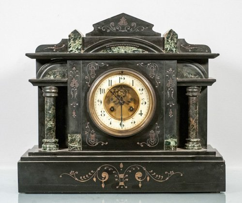 Victorian Mixed Stone Mantle Clock with Porcelain Face