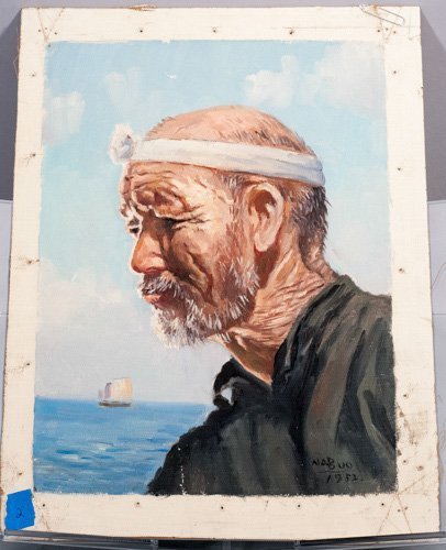 Oil on Canvas of Fisherman by Nobuo